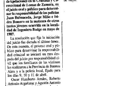 "Noticia ""Caso Budge. Juicio por el triple homicidio"", 1990."